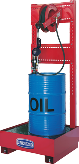 Stationary pneumatic oil supply station