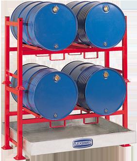 Supporti metallici sovrapponibili per stoccaggio olio