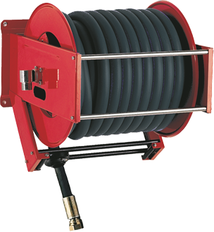Automatic rewind, spring-driven hose reel, heavy duty series