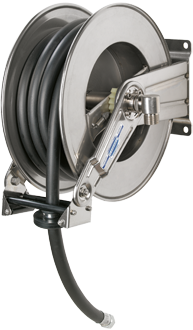 Automatic rewind, spring-driven hose reel,