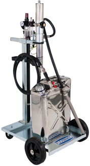 Mobile suction unit for petrol, equipped with pneumatic 1:1 – piston pump