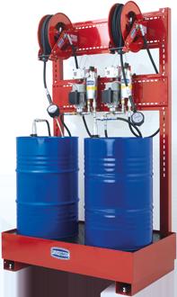 Equipo estacionario neumático para suministro de aceite con cubeto anticontaminación