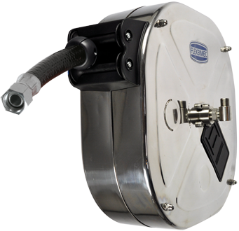 Automatic rewind, spring-driven hose reel