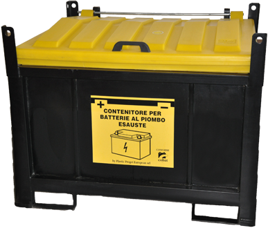 Storage container for waste car batteries