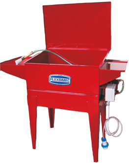 Stationary parts cleaner in painted steel